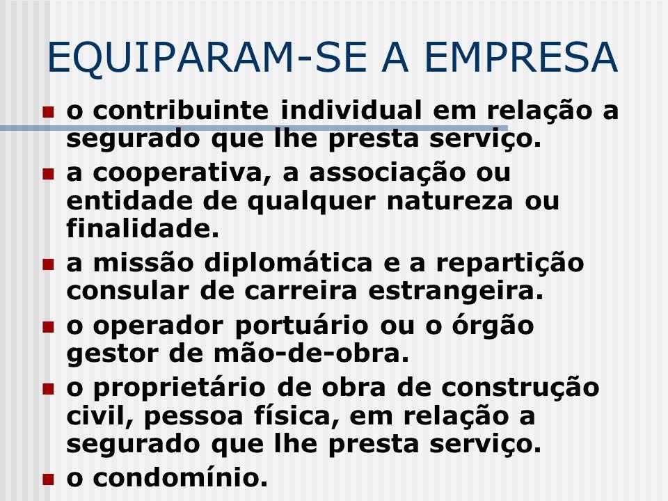EMPRESA CONCEITO PREVIDENCIÁRIO Firma individual ou sociedade, Urbana ou rural, Com fins lucrativos ou não, Incluídos os órgãos e as entidades da admi