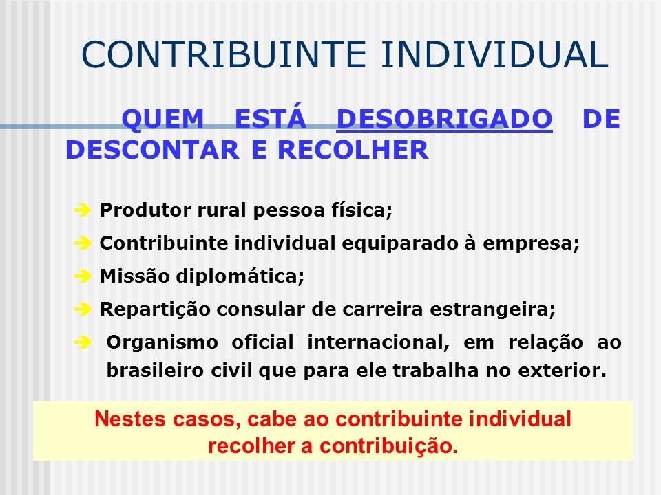 CONTRIBUINTE INDIVIDUAL A empresa, a partir de 01/04/2003 (competência abril/2003): efetua o desconto na remuneração paga ou creditada ao contribuinte