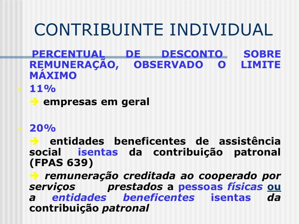 CONTRIBUINTE INDIVIDUAL QUEM ESTÁ DESOBRIGADO DE DESCONTAR E RECOLHER Produtor rural pessoa física; Contribuinte individual equiparado à empresa; Miss