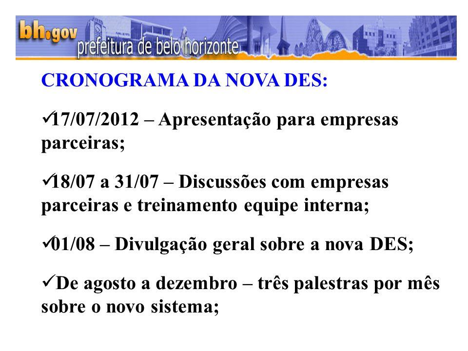 CRONOGRAMA DA NOVA DES: 17/07/2012 – Apresentação para empresas parceiras; 18/07 a 31/07 – Discussões com empresas parceiras e treinamento equipe inte