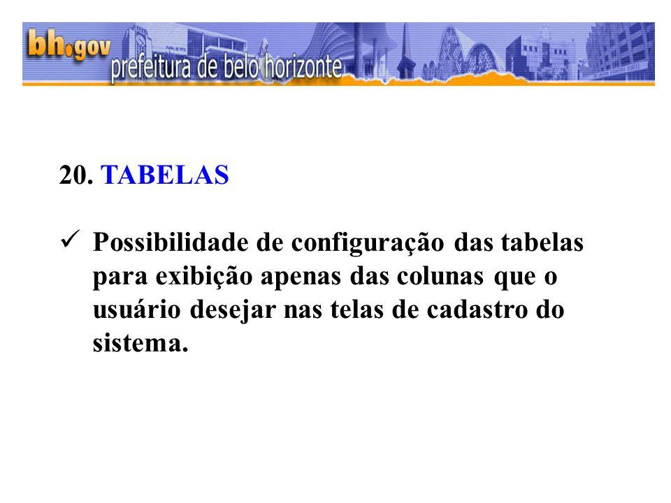 20. TABELAS Possibilidade de configuração das tabelas para exibição apenas das colunas que o usuário desejar nas telas de cadastro do sistema.