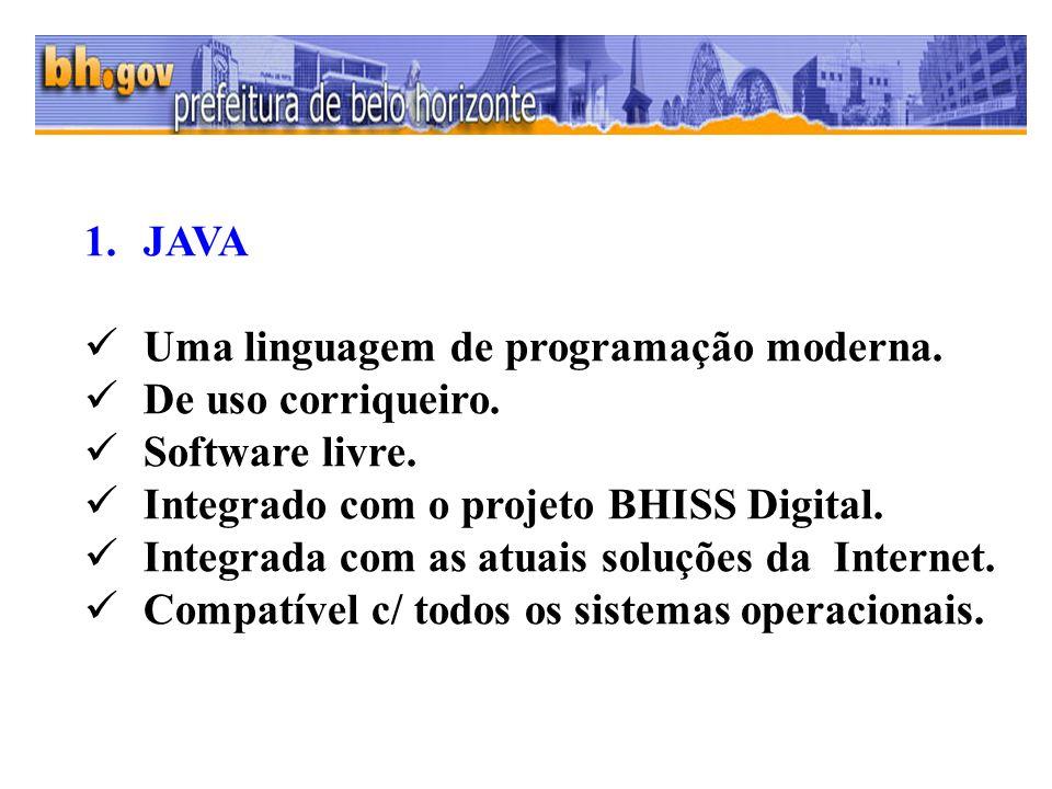 1.JAVA Uma linguagem de programação moderna. De uso corriqueiro. Software livre. Integrado com o projeto BHISS Digital. Integrada com as atuais soluçõ