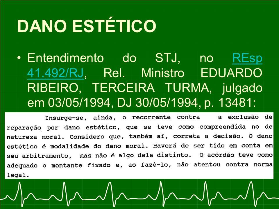 DANO ESTÉTICO Entendimento do STJ, no REsp 41.492/RJ, Rel.