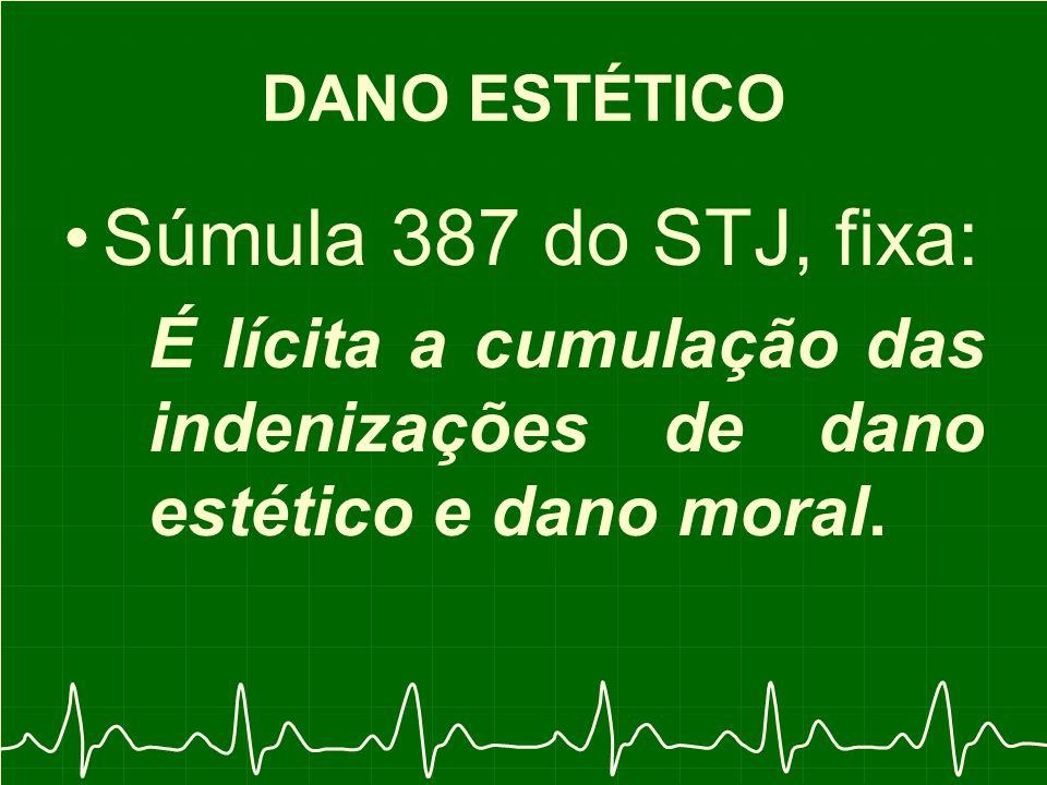 DANO ESTÉTICO Súmula 387 do STJ, fixa: É lícita a cumulação das indenizações de dano estético e dano moral.