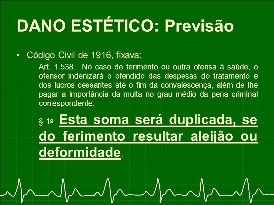 DANO ESTÉTICO: Previsão Código Civil de 1916, fixava: Art.