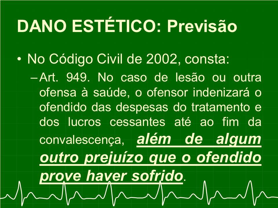 DANO ESTÉTICO: Previsão No Código Civil de 2002, consta: –Art.