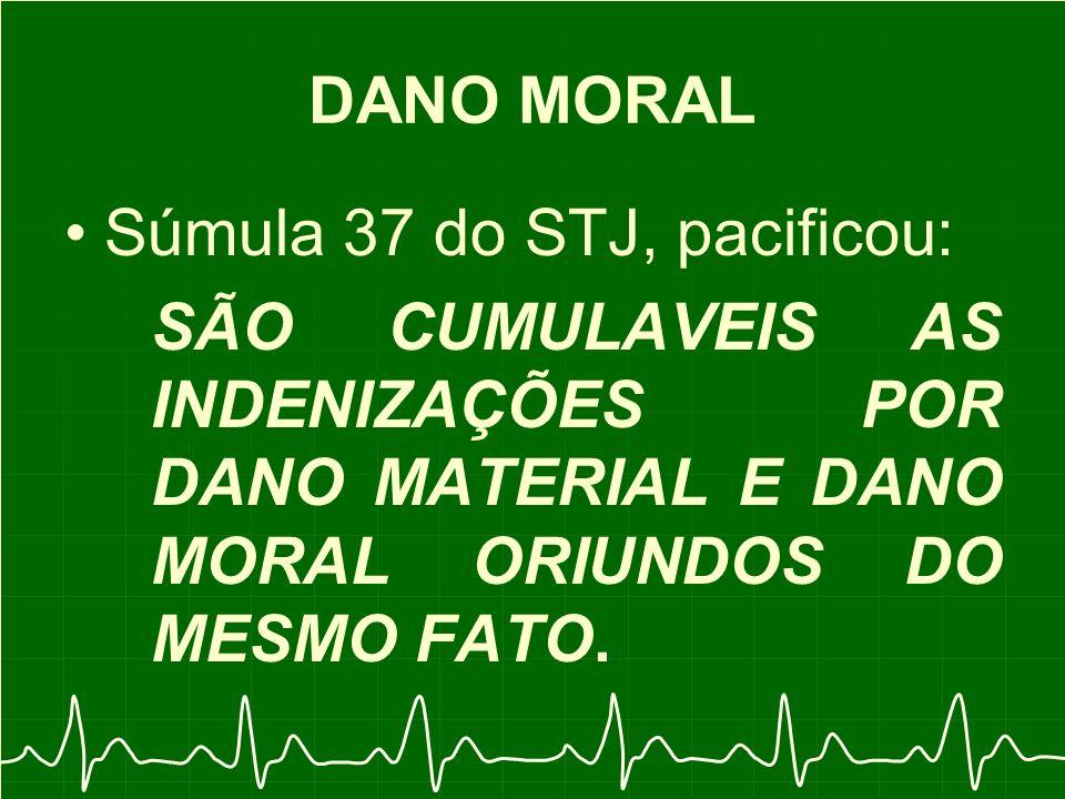 DANO MORAL Súmula 37 do STJ, pacificou: SÃO CUMULAVEIS AS INDENIZAÇÕES POR DANO MATERIAL E DANO MORAL ORIUNDOS DO MESMO FATO.