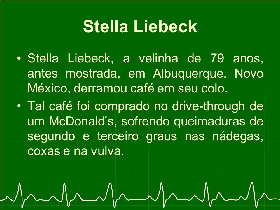 Stella Liebeck, a velinha de 79 anos, antes mostrada, em Albuquerque, Novo México, derramou café em seu colo.