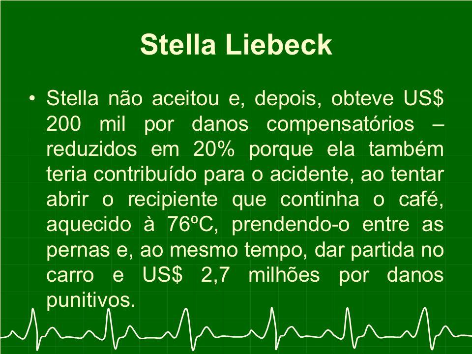 Stella Liebeck Stella não aceitou e, depois, obteve US$ 200 mil por danos compensatórios – reduzidos em 20% porque ela também teria contribuído para o acidente, ao tentar abrir o recipiente que continha o café, aquecido à 76ºC, prendendo-o entre as pernas e, ao mesmo tempo, dar partida no carro e US$ 2,7 milhões por danos punitivos.