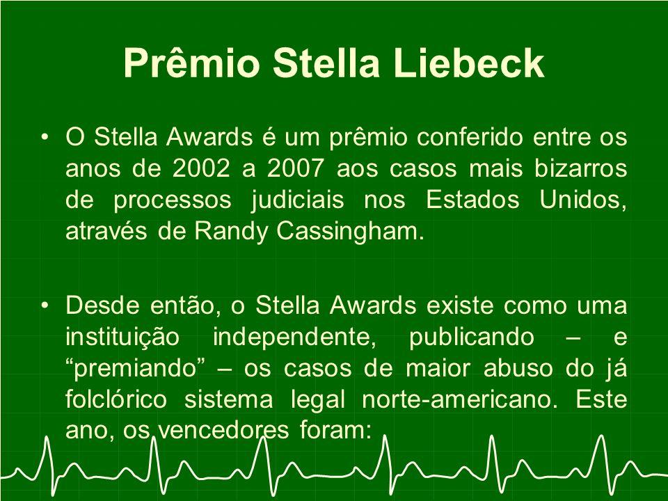 Prêmio Stella Liebeck O Stella Awards é um prêmio conferido entre os anos de 2002 a 2007 aos casos mais bizarros de processos judiciais nos Estados Unidos, através de Randy Cassingham.