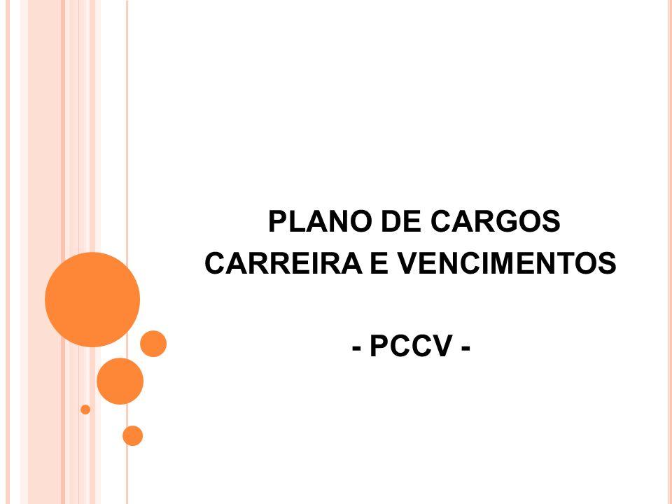 PLANO DE CARGOS CARREIRA E VENCIMENTOS - PCCV - É uma ferramenta que possibilita aos servidores EFETIVOS a chance de crescimento na carreira, por meio de evolução funcional.