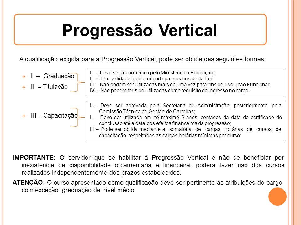 A qualificação exigida para a Progressão Vertical, pode ser obtida das seguintes formas: I – Graduação II – Titulação III – Capacitação I – Deve ser r