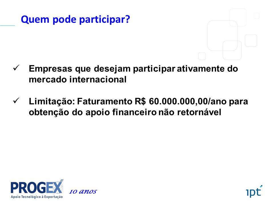 Quem pode participar? Empresas que desejam participar ativamente do mercado internacional Limitação: Faturamento R$ 60.000.000,00/ano para obtenção do