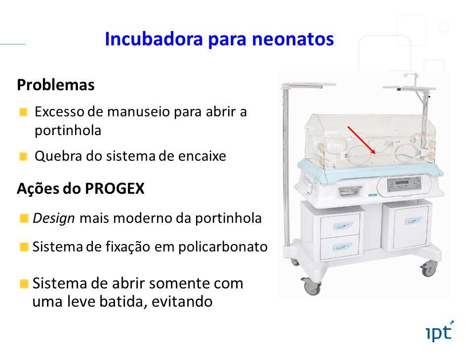 Problemas Excesso de manuseio para abrir a portinhola Quebra do sistema de encaixe Incubadora para neonatos Ações do PROGEX Design mais moderno da por