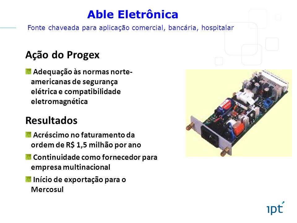 Ação do Progex Adequação às normas norte- americanas de segurança elétrica e compatibilidade eletromagnética Resultados Acréscimo no faturamento da or