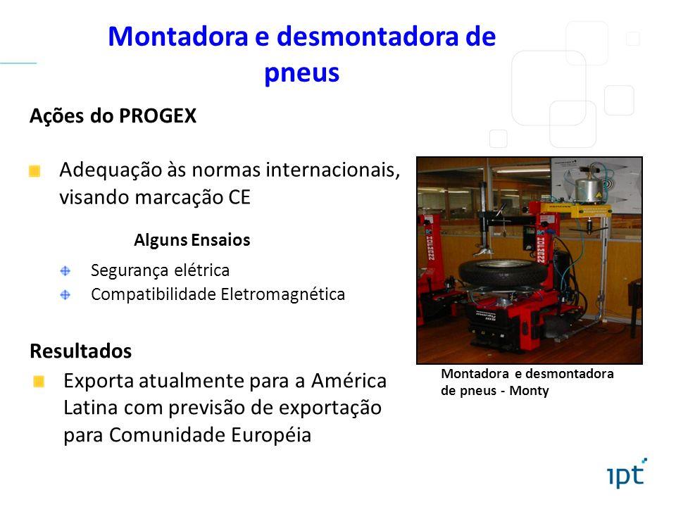 Montadora e desmontadora de pneus Ações do PROGEX Resultados Exporta atualmente para a América Latina com previsão de exportação para Comunidade Europ