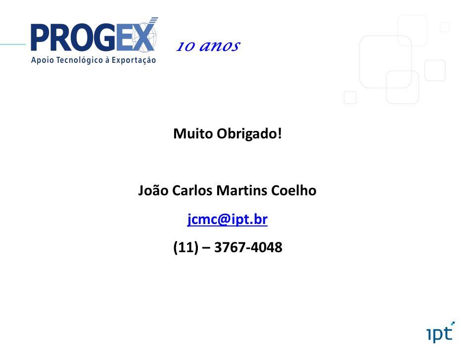 Muito Obrigado! João Carlos Martins Coelho jcmc@ipt.br (11) – 3767-4048 10 anos