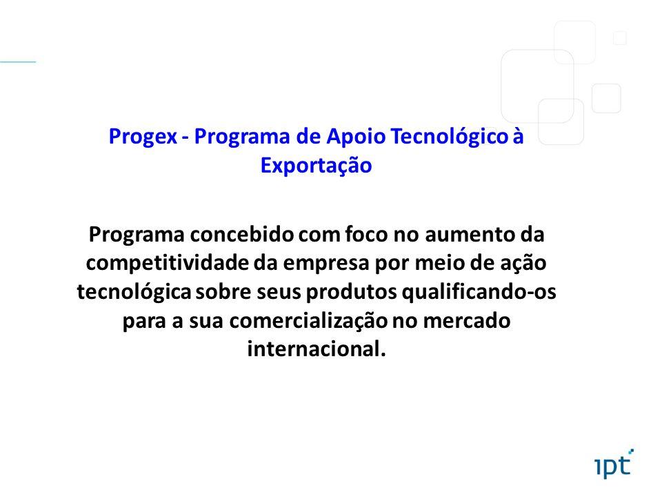 Progex - Programa de Apoio Tecnológico à Exportação Programa concebido com foco no aumento da competitividade da empresa por meio de ação tecnológica