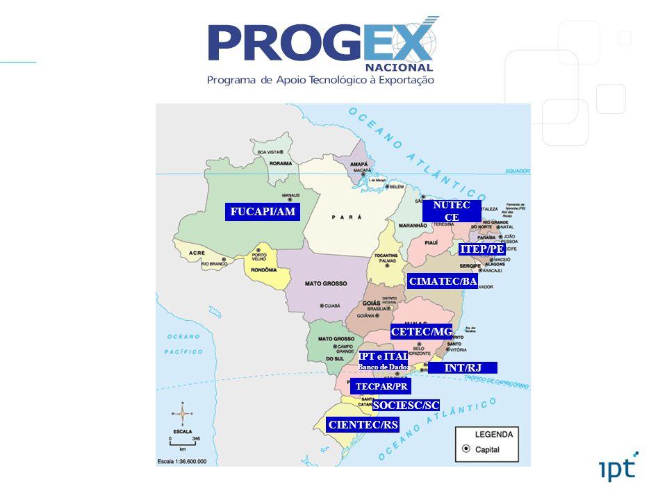 FUCAPI/AM NUTEC CE CIMATEC/BA SOCIESC/SC CIENTEC/RS IPT e ITAL Banco de Dados CETEC/MG INT/RJ TECPAR/PR ITEP/PE