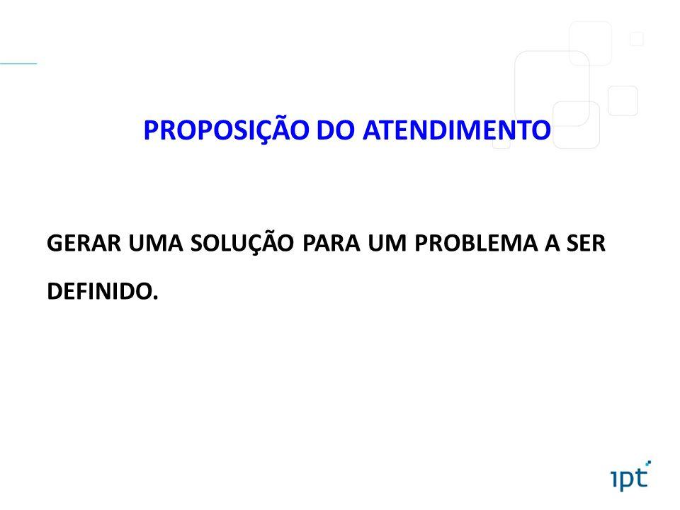 PROPOSIÇÃO DO ATENDIMENTO GERAR UMA SOLUÇÃO PARA UM PROBLEMA A SER DEFINIDO.