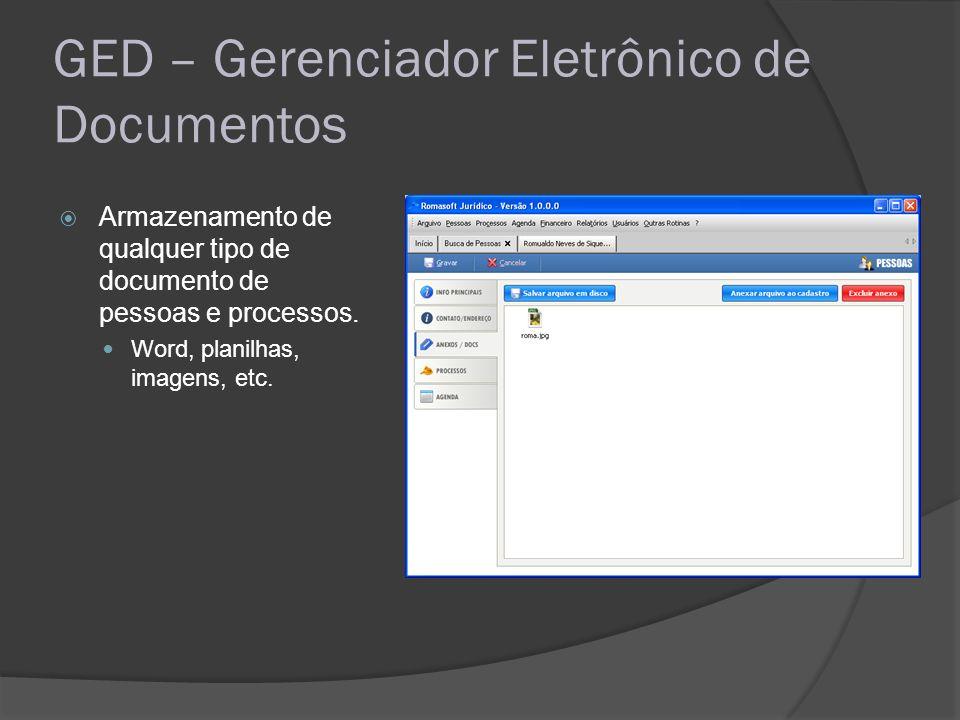 GED – Gerenciador Eletrônico de Documentos Armazenamento de qualquer tipo de documento de pessoas e processos. Word, planilhas, imagens, etc.