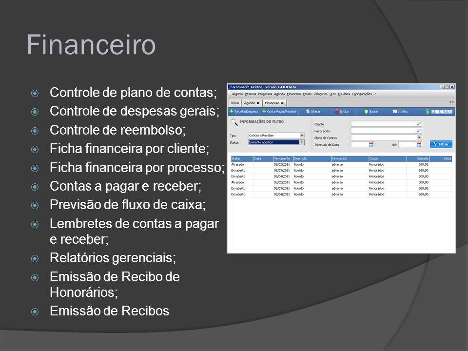 Financeiro Controle de plano de contas; Controle de despesas gerais; Controle de reembolso; Ficha financeira por cliente; Ficha financeira por process