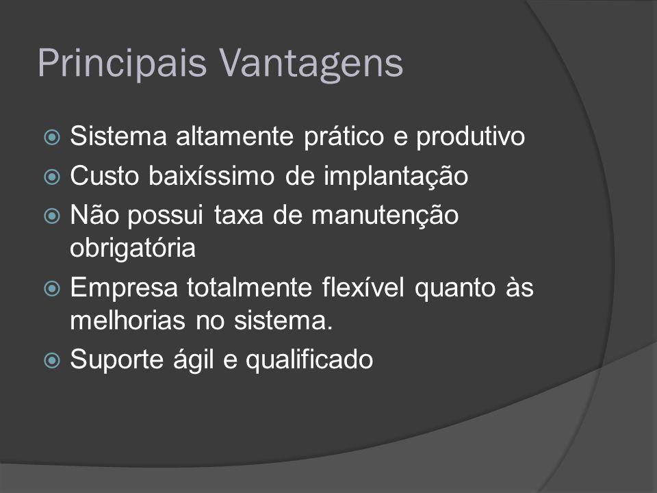 Principais Vantagens Sistema altamente prático e produtivo Custo baixíssimo de implantação Não possui taxa de manutenção obrigatória Empresa totalment