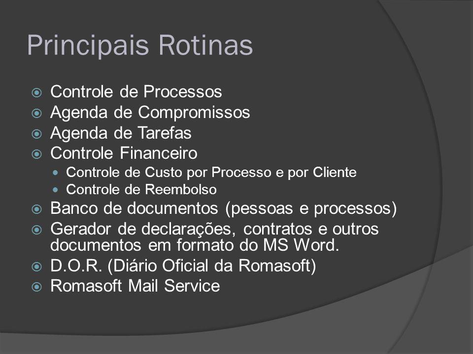 Principais Rotinas Controle de Processos Agenda de Compromissos Agenda de Tarefas Controle Financeiro Controle de Custo por Processo e por Cliente Con