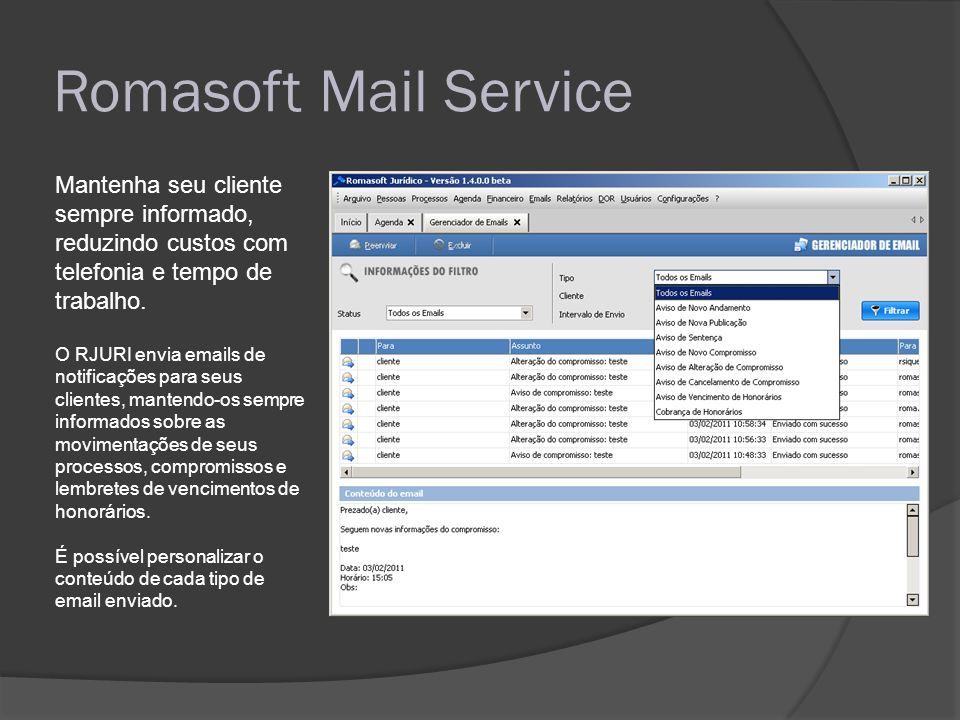 Romasoft Mail Service Mantenha seu cliente sempre informado, reduzindo custos com telefonia e tempo de trabalho. O RJURI envia emails de notificações