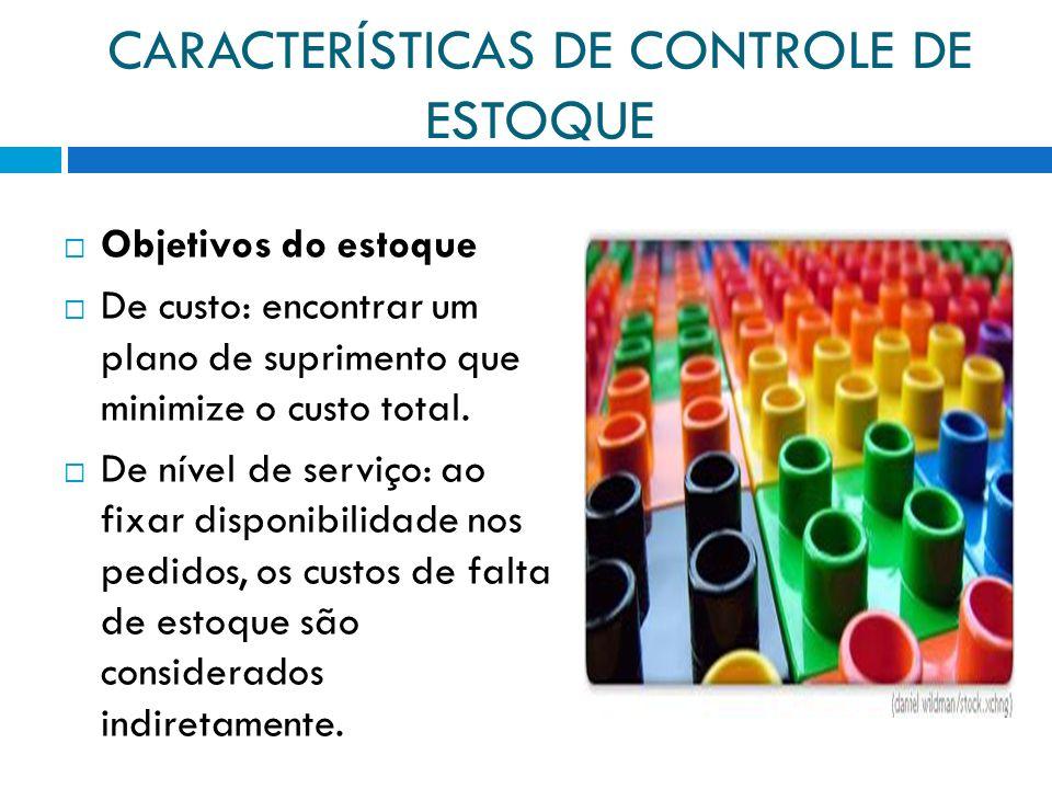 CARACTERÍSTICAS DE CONTROLE DE ESTOQUE Objetivos do estoque De custo: encontrar um plano de suprimento que minimize o custo total. De nível de serviço