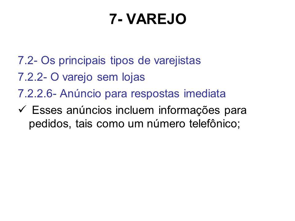 7- VAREJO 7.2- Os principais tipos de varejistas 7.2.2- O varejo sem lojas 7.2.2.6- Anúncio para respostas imediata Esses anúncios incluem informações