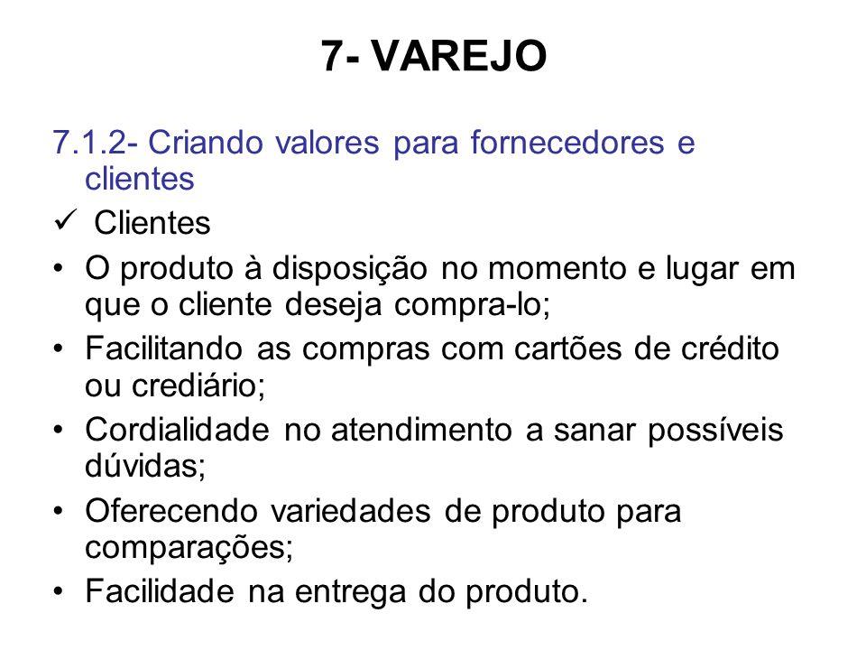 7- VAREJO 7.1.2- Criando valores para fornecedores e clientes Clientes O produto à disposição no momento e lugar em que o cliente deseja compra-lo; Facilitando as compras com cartões de crédito ou crediário; Cordialidade no atendimento a sanar possíveis dúvidas; Oferecendo variedades de produto para comparações; Facilidade na entrega do produto.