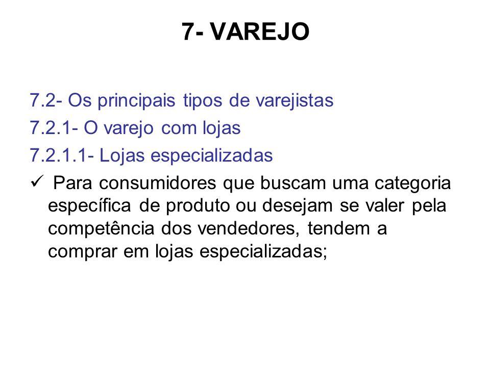 7- VAREJO 7.2- Os principais tipos de varejistas 7.2.1- O varejo com lojas 7.2.1.1- Lojas especializadas Para consumidores que buscam uma categoria es