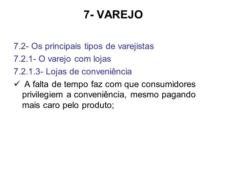7- VAREJO 7.2- Os principais tipos de varejistas 7.2.1- O varejo com lojas 7.2.1.3- Lojas de conveniência A falta de tempo faz com que consumidores privilegiem a conveniência, mesmo pagando mais caro pelo produto;