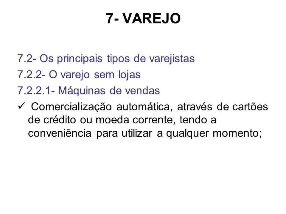 7- VAREJO 7.2- Os principais tipos de varejistas 7.2.2- O varejo sem lojas 7.2.2.1- Máquinas de vendas Comercialização automática, através de cartões