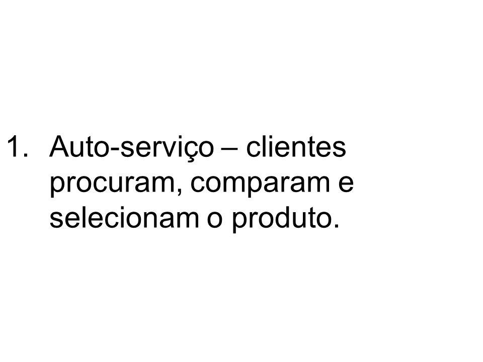 1.Auto-serviço – clientes procuram, comparam e selecionam o produto.