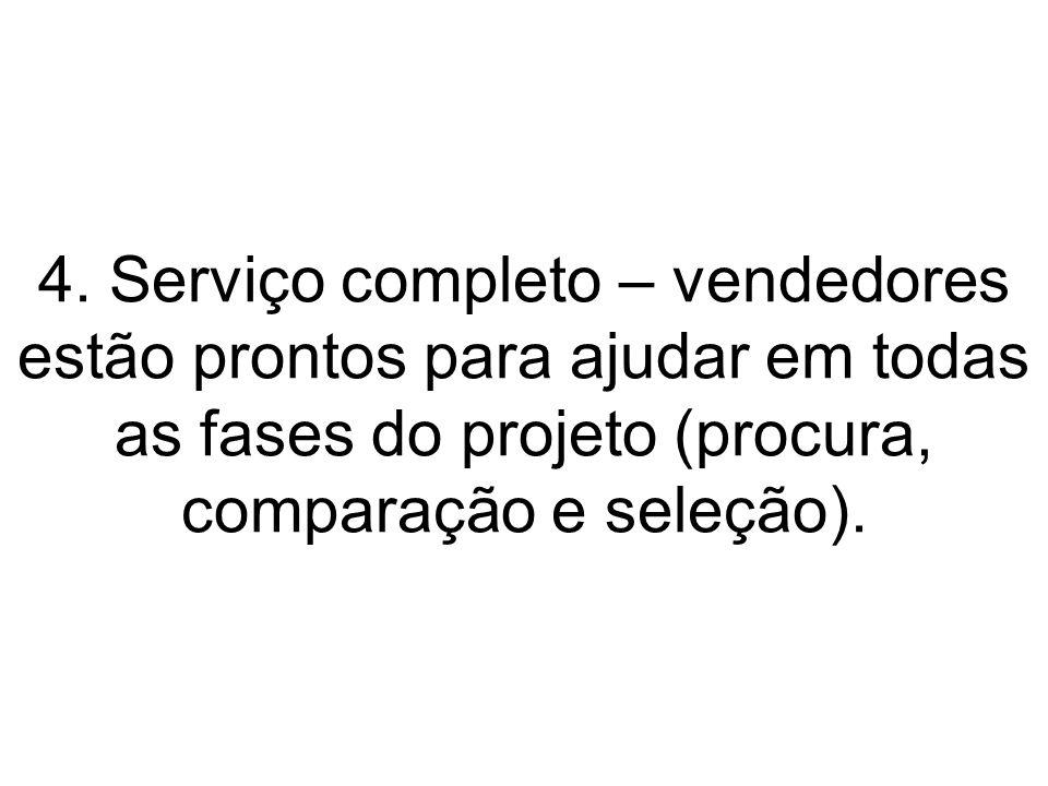 4. Serviço completo – vendedores estão prontos para ajudar em todas as fases do projeto (procura, comparação e seleção).