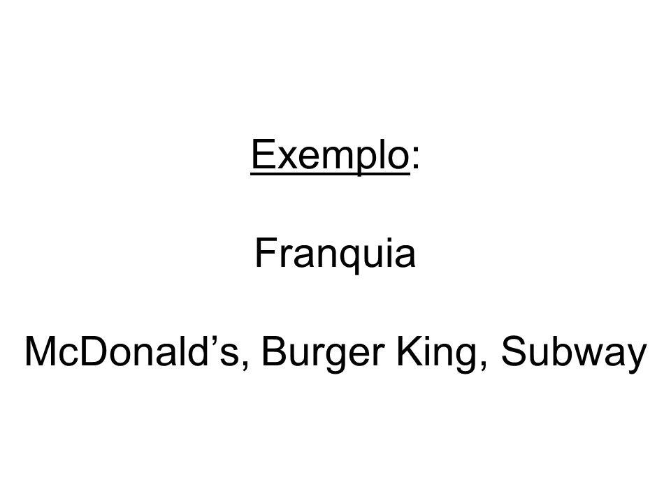 Exemplo: Franquia McDonalds, Burger King, Subway