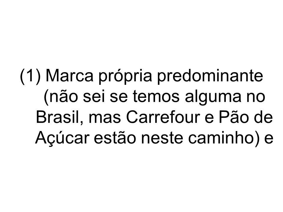 (1)Marca própria predominante (não sei se temos alguma no Brasil, mas Carrefour e Pão de Açúcar estão neste caminho) e