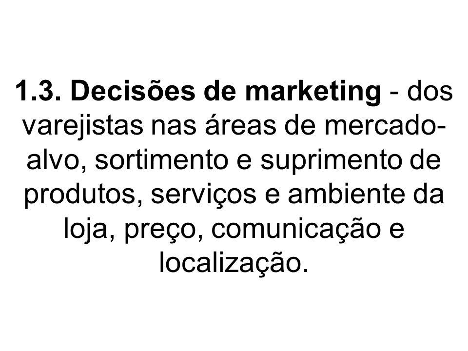 1.3. Decisões de marketing - dos varejistas nas áreas de mercado- alvo, sortimento e suprimento de produtos, serviços e ambiente da loja, preço, comun