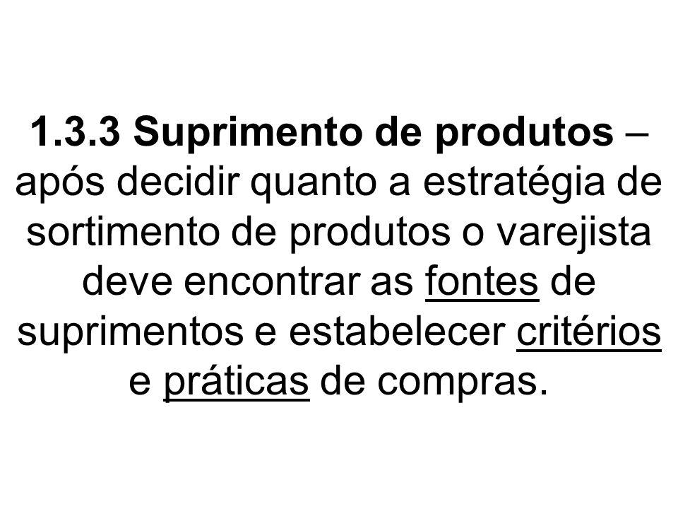 1.3.3 Suprimento de produtos – após decidir quanto a estratégia de sortimento de produtos o varejista deve encontrar as fontes de suprimentos e estabe