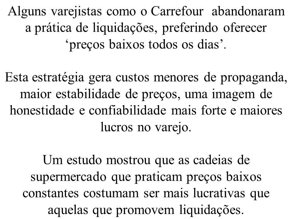 Alguns varejistas como o Carrefour abandonaram a prática de liquidações, preferindo oferecer preços baixos todos os dias. Esta estratégia gera custos