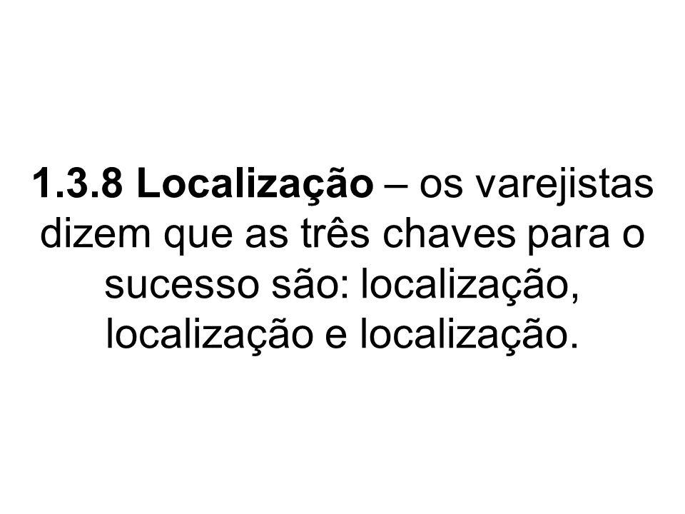 1.3.8 Localização – os varejistas dizem que as três chaves para o sucesso são: localização, localização e localização.
