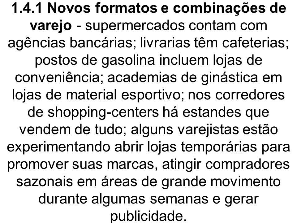 1.4.1 Novos formatos e combinações de varejo - supermercados contam com agências bancárias; livrarias têm cafeterias; postos de gasolina incluem lojas