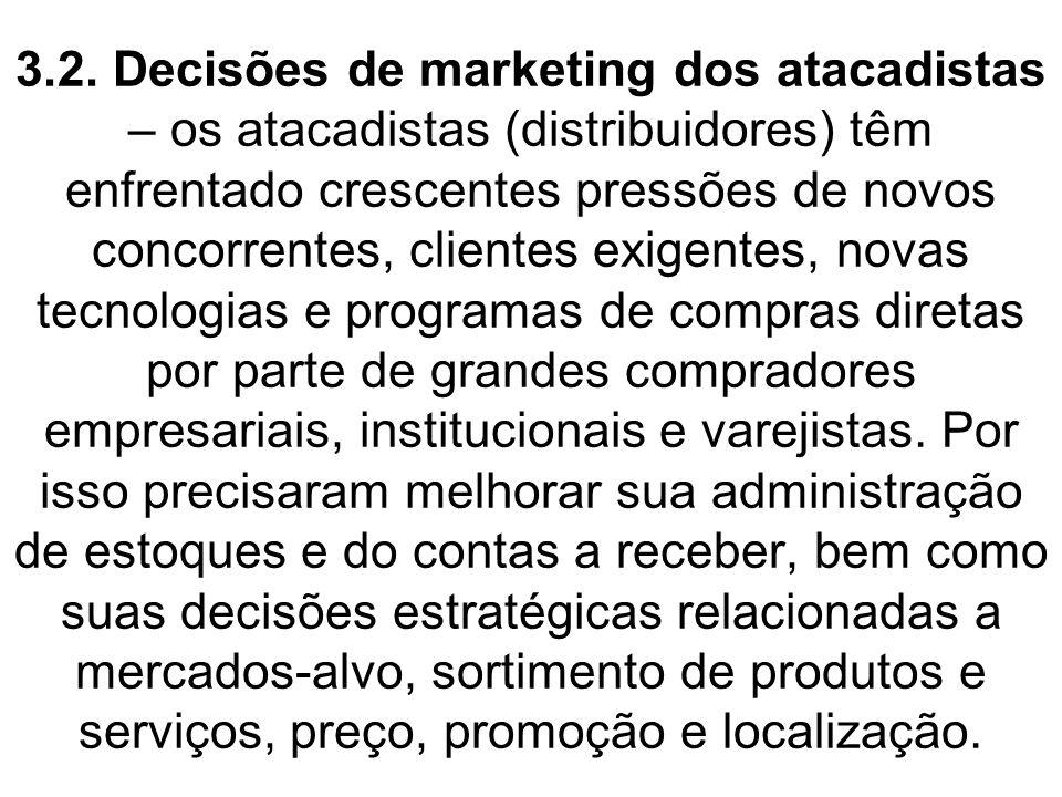 3.2. Decisões de marketing dos atacadistas – os atacadistas (distribuidores) têm enfrentado crescentes pressões de novos concorrentes, clientes exigen