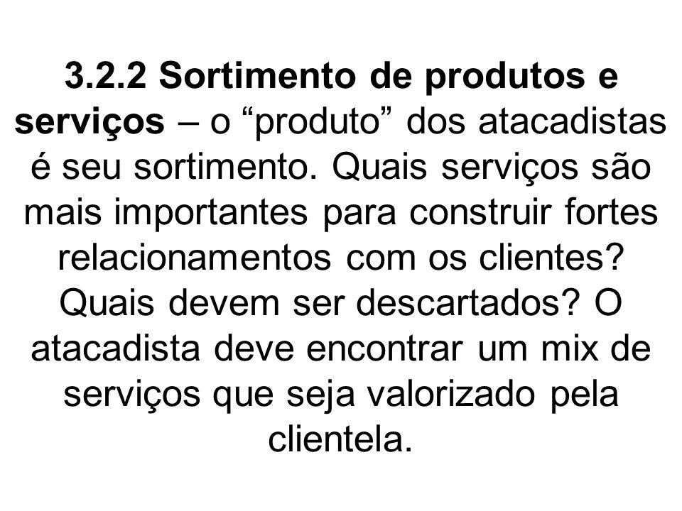 3.2.2 Sortimento de produtos e serviços – o produto dos atacadistas é seu sortimento. Quais serviços são mais importantes para construir fortes relaci