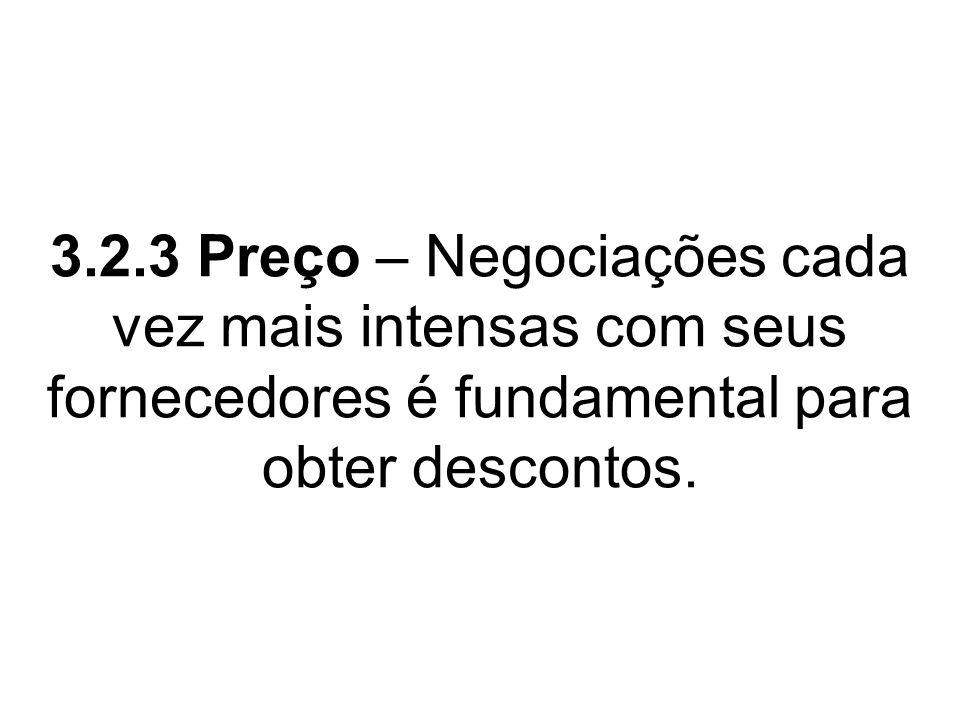 3.2.3 Preço – Negociações cada vez mais intensas com seus fornecedores é fundamental para obter descontos.