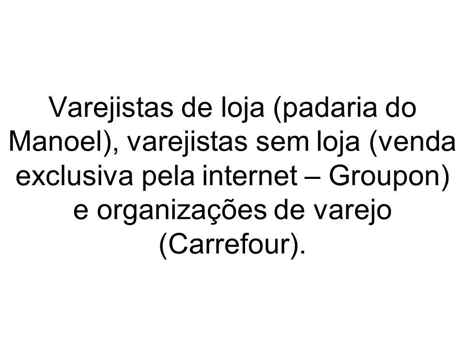 Varejistas de loja (padaria do Manoel), varejistas sem loja (venda exclusiva pela internet – Groupon) e organizações de varejo (Carrefour).