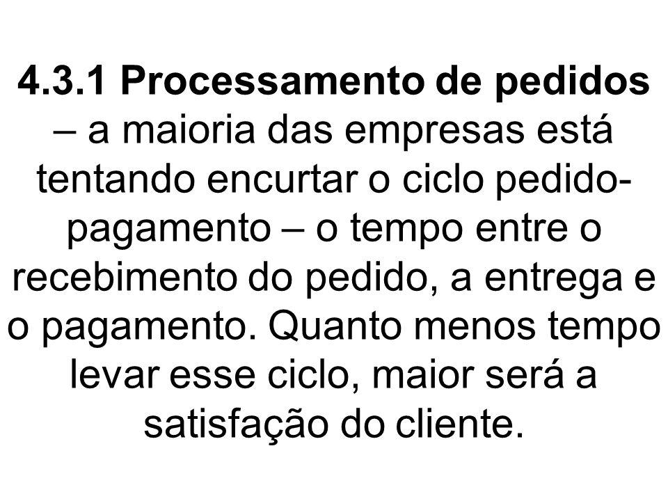 4.3.1 Processamento de pedidos – a maioria das empresas está tentando encurtar o ciclo pedido- pagamento – o tempo entre o recebimento do pedido, a entrega e o pagamento.