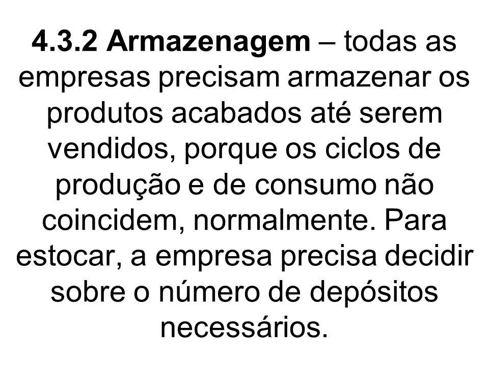 4.3.2 Armazenagem – todas as empresas precisam armazenar os produtos acabados até serem vendidos, porque os ciclos de produção e de consumo não coincidem, normalmente.